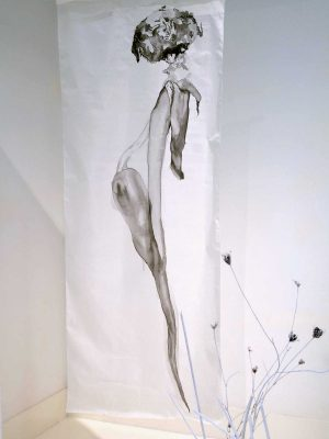 untitiled…affior, japanese ink on silk, 80 x 200 cm