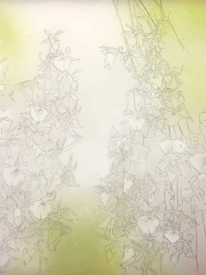 untitled…reverie, japanese ink and gouache on silk, 180 x 60 cm