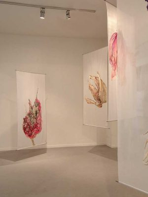 series Osmosis, view of exhibition Five Easy Pieces, oil on silk