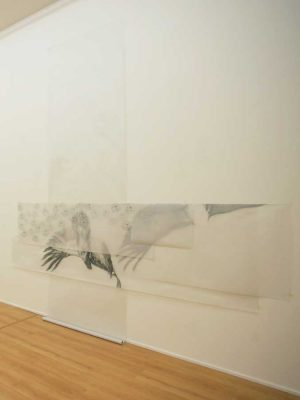 untitled…reflection, graphite and charcoal on paper, 180 x 400 cm